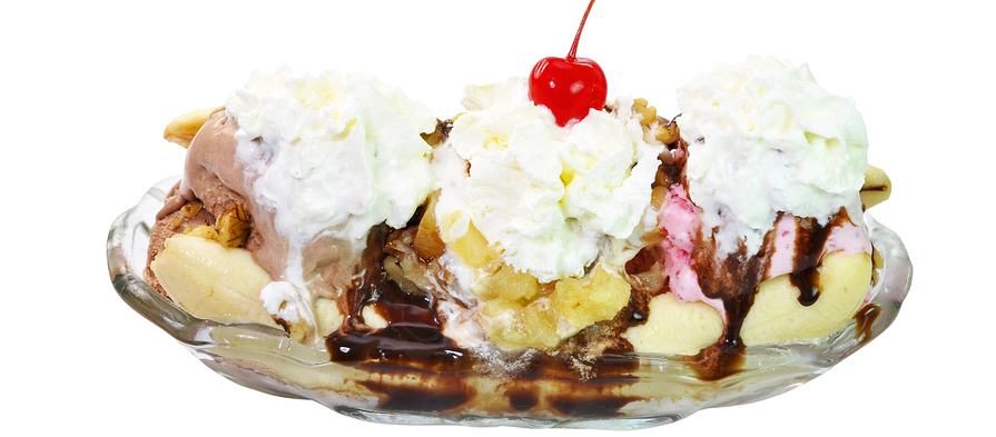Banana Split With Clipping Path